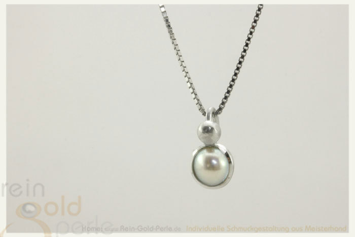 Kette - Globe twisted - Silber mit Perle